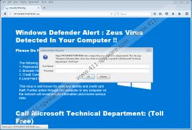 Fake Windows Defender Alert: Zeus Virus